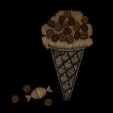 El helado con bordado del caramelo y del grano de café cose ilustración del vector