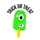 El helado de Halloween del truco o de la invitación observa en vector de la historieta Fotos de archivo libres de regalías
