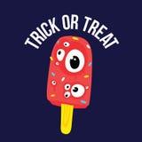 El helado de Halloween del truco o de la invitación observa en vector de la historieta Fotos de archivo