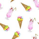 El helado en un cono de la oblea y el batido de leche se aíslan en un fondo blanco Modelo inconsútil para el diseño Fotografía de archivo libre de regalías