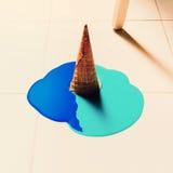 El helado falso fluye abajo en el piso Fondo de la manera Imagenes de archivo