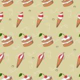 El helado y la torta lindos con la cereza vector el modelo inconsútil Colección de verano stock de ilustración