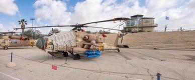El helicóptero Boeing AH-64D Saraf (Apache) exhibió en el museo israelí de la fuerza aérea imágenes de archivo libres de regalías