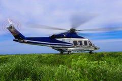 El helicóptero grande aterriza en el bosque en la niebla, aterrizaje del helicóptero en la hierba Foto de archivo