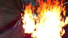 El helicóptero penetra el túnel del asfalto por completo del fuego stock de ilustración