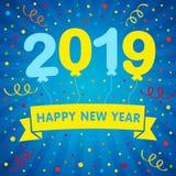 el helio de la Feliz Año Nuevo 2019 hincha las letras y la tarjeta de felicitación coloreada del confeti ilustración del vector