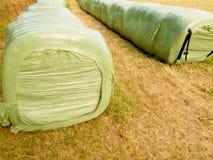El heno embala el aire libre izquierdo para la fermentación Imagen de archivo libre de regalías
