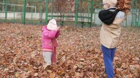 El hermano mayor lanza un brazado de hojas caidas amarillas en su pequeña hermana almacen de metraje de vídeo