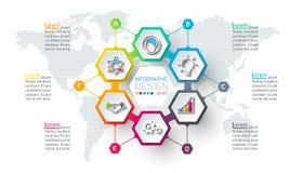 El hexágono del negocio etiqueta forma infographic en círculo stock de ilustración