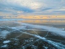 El hielo del lago Baikal Foto de archivo libre de regalías
