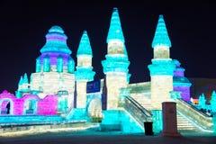 El hielo internacional de Harbin y el festival de la escultura de nieve es un festival anual del invierno que ocurre en Harbin Fotos de archivo libres de regalías