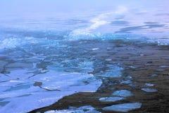 El hielo y los toros del primer año rompieron el rompehielos de propulsión nuclear Fotografía de archivo