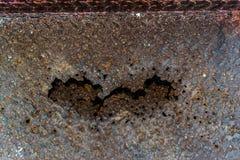 El hierro aherrumbró para arriba, el decaimiento oxidado de acero, el acero aherrumbrado es en forma de corazón Fotografía de archivo