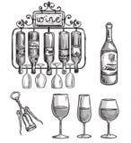 El hierro echó el tenedor, las botellas y los vidrios del vino ilustración del vector
