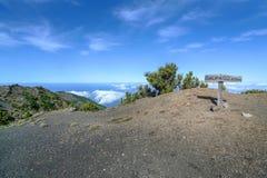 El Hierro - Sign on the peak of Malpaso Stock Photos
