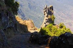 EL Hierro - vea abajo en el valle del EL Golfo de Mirador de Jinama y del Mirador de Izique en el EL Hierro Foto de archivo