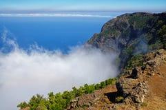 EL Hierro - vea abajo en el valle del EL Golfo de Mirador de Jinama y del Mirador de Izique en el EL Hierro Imágenes de archivo libres de regalías