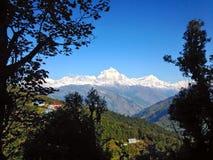 El Himalaya Poon Hill de la gama de Annapurna imagenes de archivo