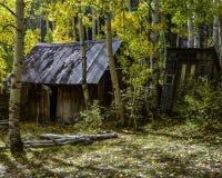 El hogar abandonado histórico ocultado con hacia fuera contiene del oeste salvaje en caída imagen de archivo