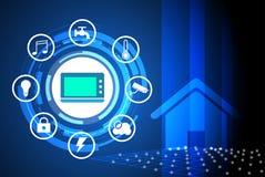 El hogar de Smart controló el uso del concepto de la red del servicio público para el fondo stock de ilustración