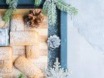 El hogar del invierno hizo las galletas para el fondo de la Navidad Foto de archivo libre de regalías
