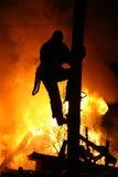 El hogar del país del fuego en el invierno Imagenes de archivo