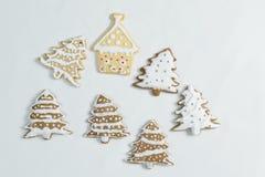 El hogar del pan de jengibre hizo el árbol de navidad y la casa de la galleta Imagenes de archivo