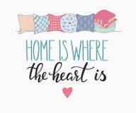 El hogar es donde el corazón está poniendo letras libre illustration