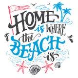 El hogar es donde está ejemplo la playa de la tipografía stock de ilustración