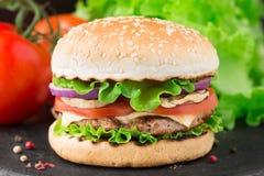 El hogar hizo la hamburguesa Imágenes de archivo libres de regalías