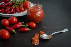 El hogar hizo la salsa de tomate en un tarro Fotografía de archivo libre de regalías