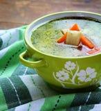 El hogar hizo la sopa de pollo foto de archivo