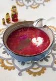 El hogar hizo la sopa vegetariana del borscht Imagen de archivo libre de regalías
