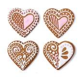 El hogar hizo las galletas del corazón del pan de jengibre fotos de archivo libres de regalías