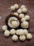 El hogar hizo los caramelos con el coco fotografía de archivo