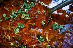 El hogar tradicional del Gujarati hizo el plato de los tomates del sev Imagenes de archivo