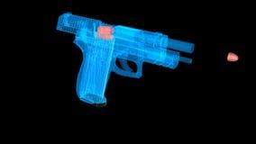 El holograma tiró el arma con una bala que volaba hacia fuera almacen de metraje de vídeo