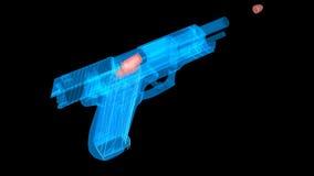 El holograma tiró el arma con una bala que volaba hacia fuera almacen de video