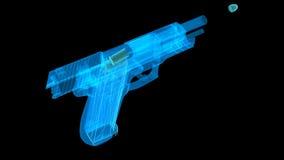 El holograma tiró el arma con una bala que volaba hacia fuera metrajes