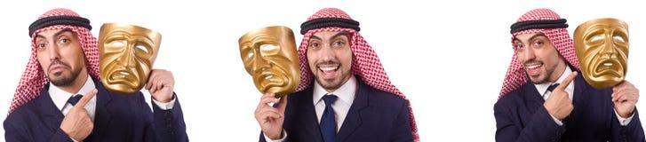 El hombre árabe con la máscara aislada en blanco imagen de archivo libre de regalías