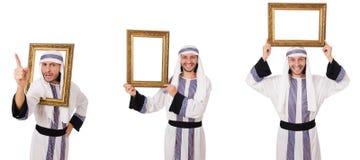 El hombre árabe con el marco aislado en blanco fotos de archivo
