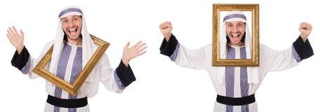 El hombre árabe con el marco aislado en blanco fotos de archivo libres de regalías