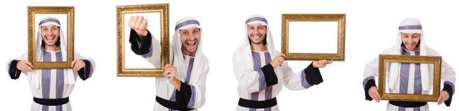 El hombre árabe con el marco aislado en blanco imagen de archivo