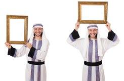 El hombre árabe con el marco aislado en blanco imágenes de archivo libres de regalías