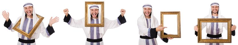 El hombre árabe con el marco aislado en blanco foto de archivo libre de regalías