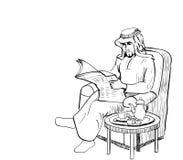 El hombre árabe leyó el papel de las noticias en el sofá - alinee el vector exhausto Foto de archivo
