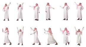 El hombre árabe que presiona los botones virtuales imagen de archivo libre de regalías