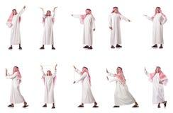 El hombre árabe que presiona los botones virtuales Foto de archivo libre de regalías