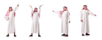 El hombre árabe que presiona los botones virtuales Fotografía de archivo libre de regalías