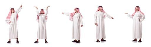 El hombre árabe que presiona los botones virtuales fotos de archivo